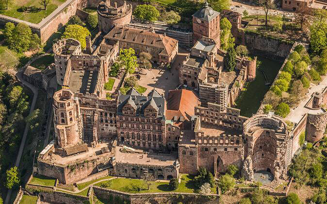 上空から見たハイデルベルク城